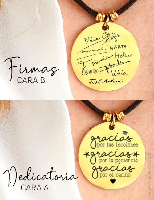 Medalla dorada de acero, en happy grabamos con los nombres de todos los alumnos escritos por ellos mismos