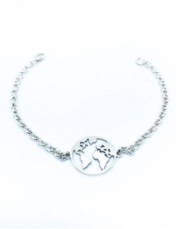 Pulsera rolo plata con medalla mapa mundi en plata