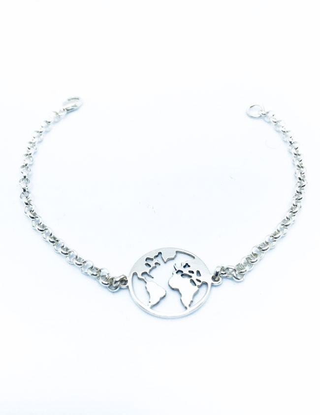 d5209f33621b Pulsera clásica plata cadena rolo y con adorno mapa mundi en plata