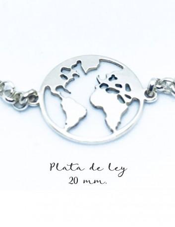 Pulsera de plata rolo con medalla mapa mundi de 20 mm. de diámetro