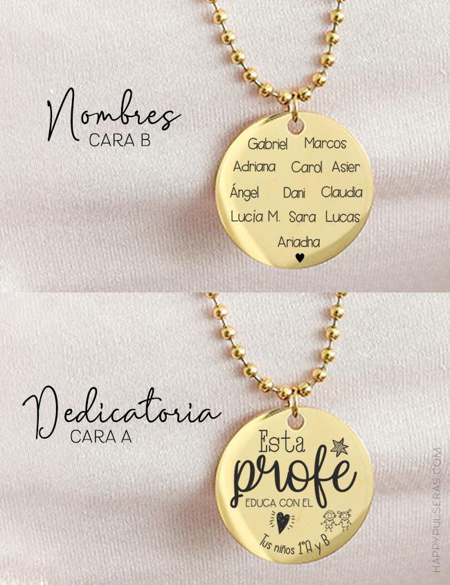 Cadena larga bolitas de acero dorado con medalla 30 grabada con dedicatoria y nombres de la clase- Happy