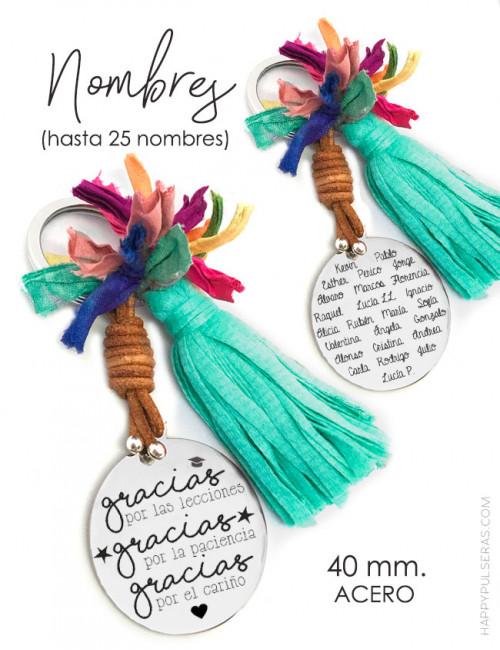 regalo original para profesora- elige el color del pompón para el llavero y graba nombres niños- Happy