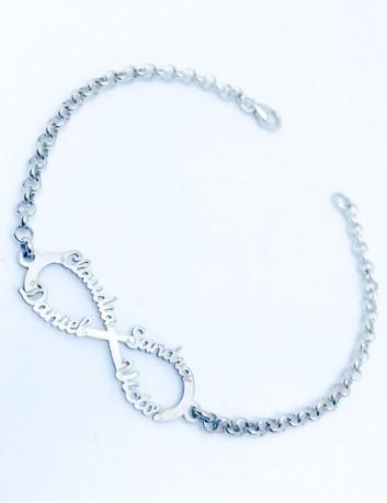 Pulsera de plata con adorno de símbolo infinito para grabar hasta 4 nombres o 4 palabras