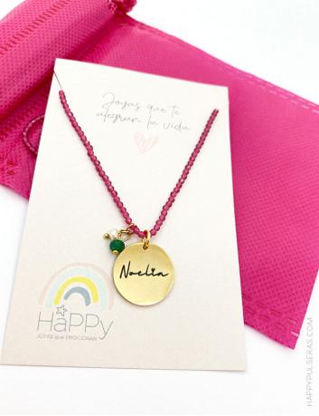 Collar rosa con medalla personalizada con el mensaje que quieras- Top ventas Happypulseras