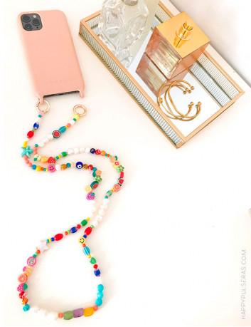 Cuelga móvil original de colores para añadir a tu funda del móvil, elige en dorado o plateado las anillas