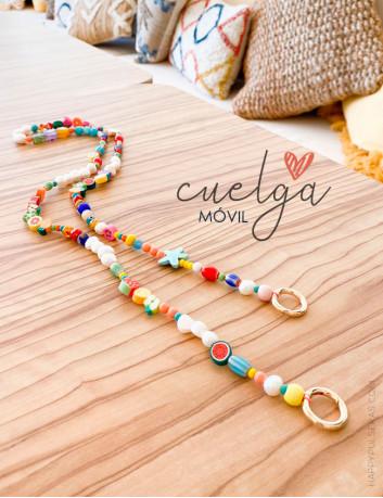 Cuelga tu móvil con nuestro maravilloso collar de colores con anillas para colgar de la funda de móvil