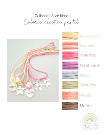 Elige los colores en tono pastel para el cordón de tu collar personalizado con colgante de nácar en blanco. Happypulseras