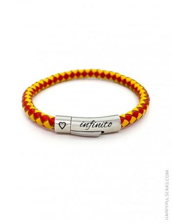 Pulsera cuero redondo con los colores de la bandera España - Recuerdos Spain - con tu nombre