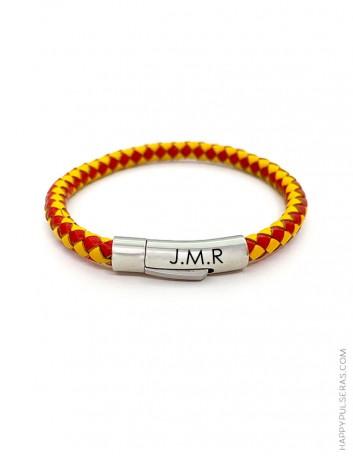 Graba tus iniciales en nuestra maravillosa pulsera de la bandera de España - Cierre de acero- Happy