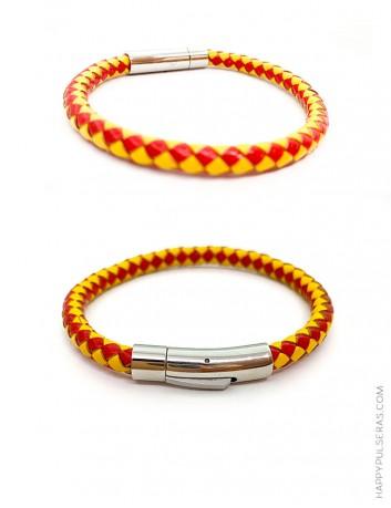 Pulseras de cuero con los colores de la bandera de España, personalizadas con tu nombre - Pulseras artesanas Happy