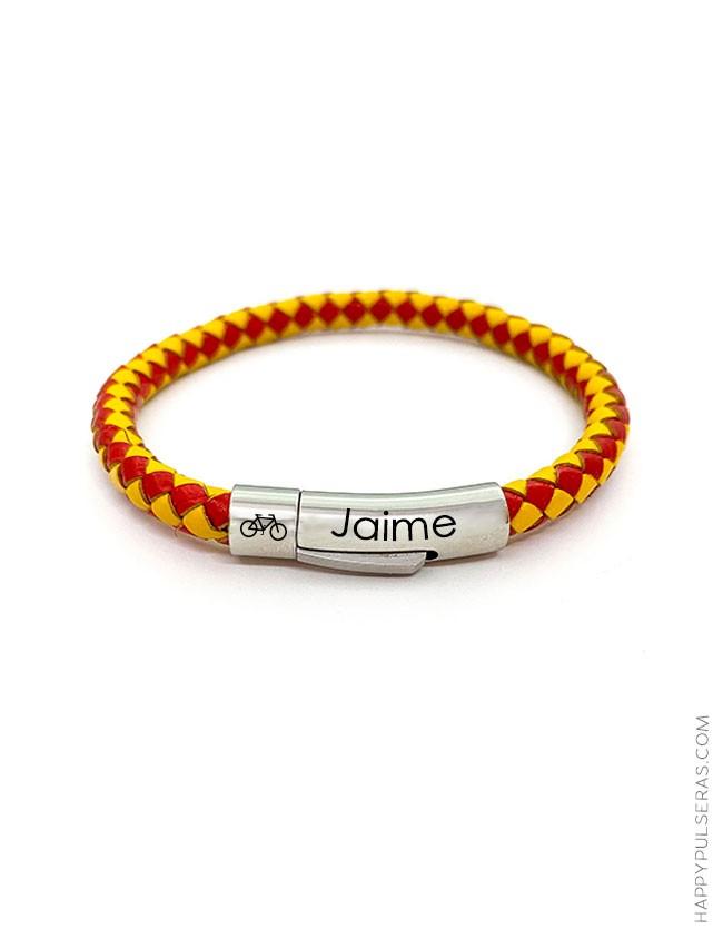 Pulsera de cuero en redondo con los colores de la bandera Española rojo y amarillo - graba tu nombre en cierre