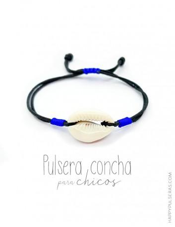 Pulsera concha para hombre de color negro con adornos en azul eléctrico- Artesanal Happypulseras