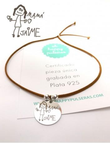 collar con elástico seda medalla 25 mm. grabada con dibujo de niño medalla con bolitas plata