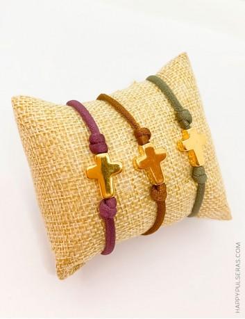 Pulsras cruz acero dorado o plateado con elástico seda- Happy pulseras