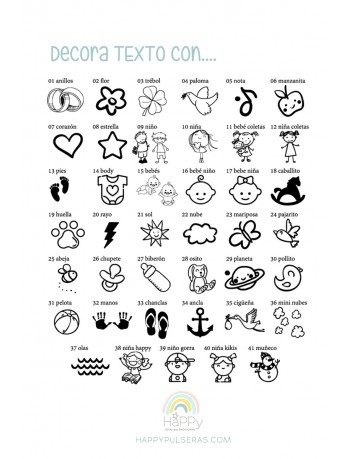 Decora tu dedicatoria con alguno de estos símbolos y quedará el grabado espectacular. Graba GRATIS en Happypulseras.