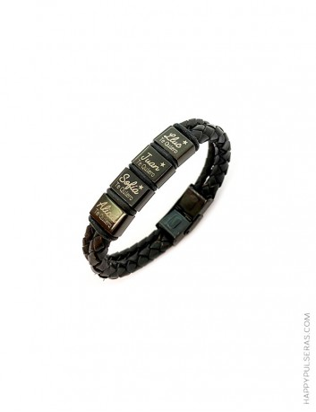 Pulsera doble cordón de cuero en negro con abalorios cuadrados en negro - Happypulseras