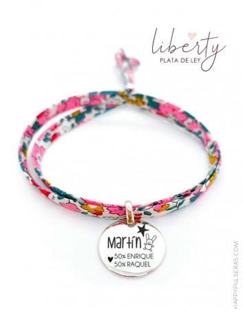 Pulsera liberty flores con tela y medalla de plata para personalizar lo que quieras- Graba tu mensaje- Happypulseras