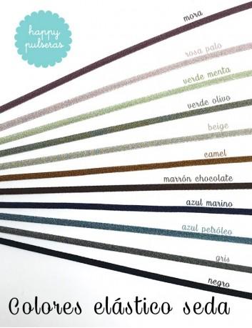 colores del elástico seda que puedes elegir para tu cordón de palta con medalla. Happypulseras