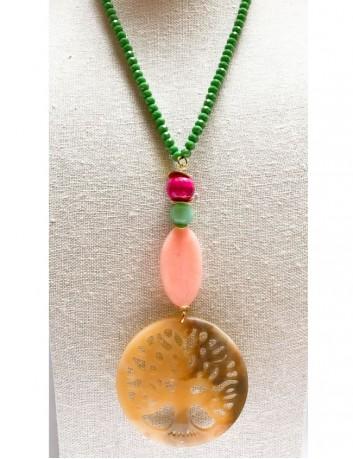 collar árbol de la vida con piedras naturales en tonos verdes y rosa. collar largo de árbol de la vida