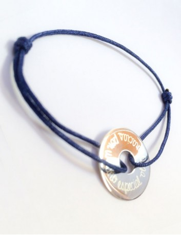 pulsera plata donut personalizado 20 mm. cordón algodón fino de colores. Happy pulseras Madrid.