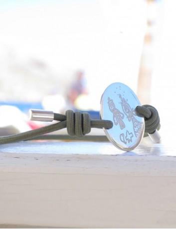 pulsera cordon elástico con medalla de 20 mm para grabar lo que quieras. Regalos para comuniones, bautizos