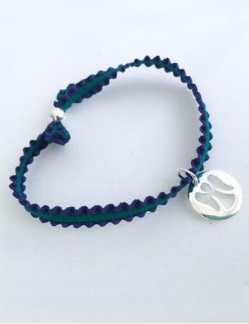 Pulsera cinta elástica rizada marino y verde, topo y granate, con medalla angelote en plata de ley