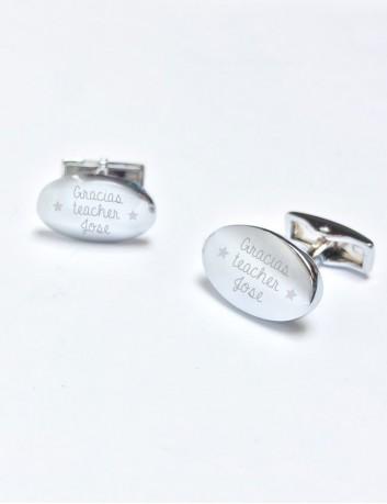 gemelos de acero rovalados grabados con el texto que quieras, dedicatoria. Gemelos para profesores con dedicatoria.