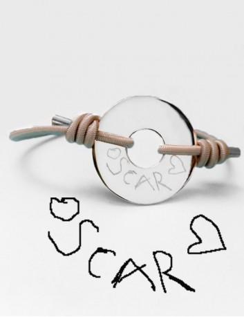 pulsera cordón elástico con donut en plata grabado con dibujo o escrito personalizado