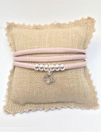 Collar pulsera doble vuelta color rosa palo con cruz griega en plata u oro