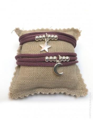 Collar pulsera doble vuelta color mora palo con cruz griega, e estrella o luna en plata u oro