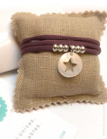 pulsera doble vuelta elástico seda mora bolitas plata estrella también como collar.