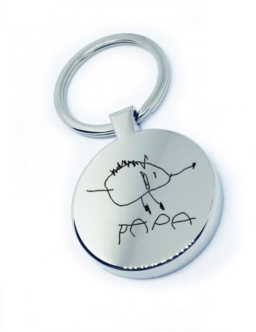 regalo para hombres llavero de acero redondo con dibujo personalizado de un niño regalo original