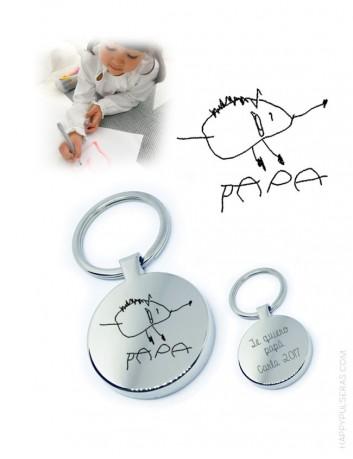 llavero acero con dibujo personalizado grabado. regalo para hombres original.