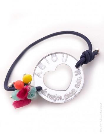 jewerly online regalo original Pulsera elástico en varios colores con adorno corazón hueco en acrílico