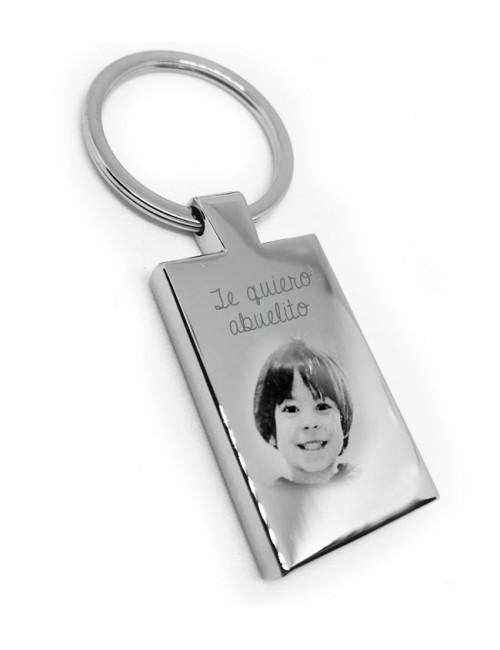 regalo original llavero de acero grabado con foto y dedicatoria por detrás para regalo para hombre