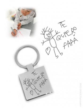 ¿quieres un regalo original? llavero de acero grabado con el dibujo del niño o con escritos a mano... regalo para hombres