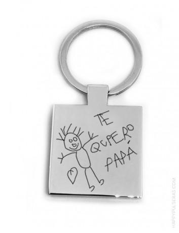 regalo para hombres llavero de acero cuadrado con dibujo personalizado de un niño regalo original