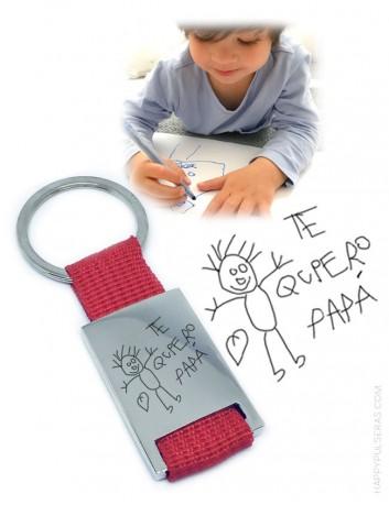 regalo original llavero grabado con dibujo grabado o escrito a mano, regalos para hombre originales