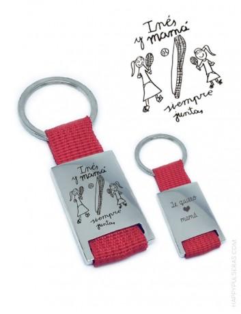 Regalo original llavero para hombre o mujer con dibujo grabado hecho por niño. Grabamos cualquier escrito a mano