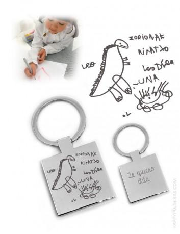 llavero acero cuadrado con dibujo personalizado grabado. regalo para hombres original.