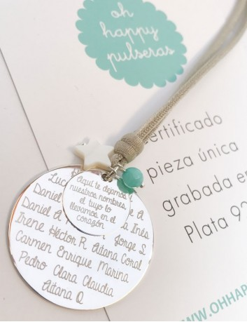 collar doble medalla de plata para grabar con cordón elástico seda
