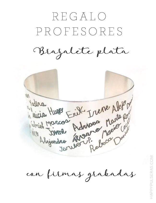 idea de regalo para profesores brazalete en plata con nombre de los niños