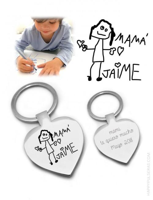 llavero acero corazón con dibujo personalizado grabado. regalo para mamá original.