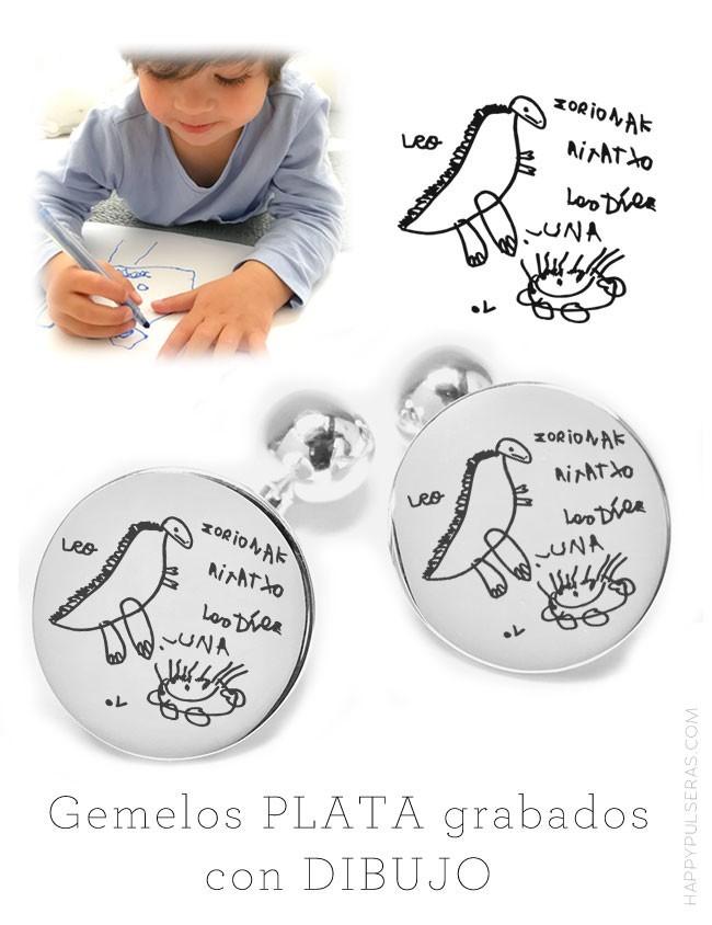 gift weeding gemelos de plata redondos grabados con dibujo o escrito a mano. Gemelos para boda.