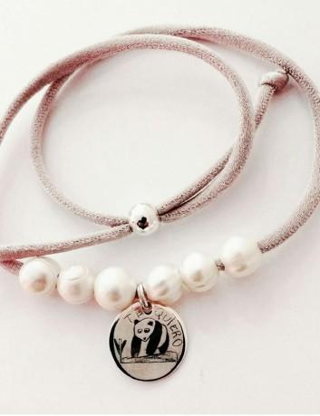 collar cordón seda con medalla plata 20 mm. con dibujo personalizado