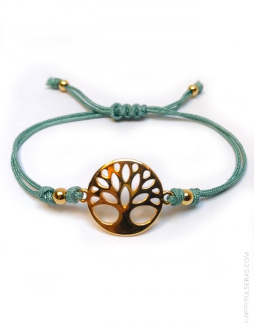 pulsera hilo de macramé de colores con árbol de la vida en dorado. Regalo original con estilo. Turquesa