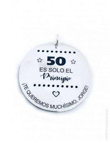 regalo original medalla de plata grande para grabar una dedicatoria o frase.