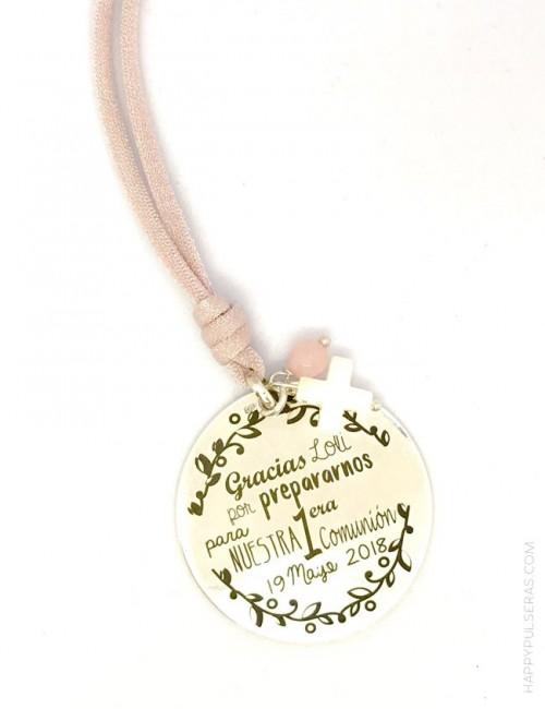 regalo original para monitora de catequesis primera comunión dedicatoria jewerly online medalla plata collar grabada