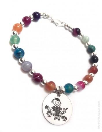jewerly online regalo original pulsera de piedra natural con medalla para grabar lo que te guste.