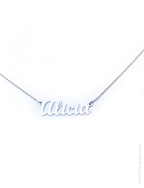 haz un regalo original con esta cadena con colgante de plata con tu nombre personalizado.